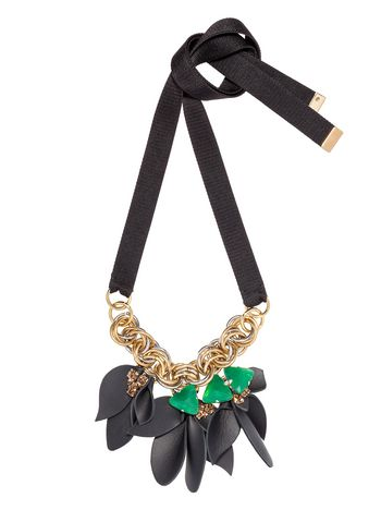 Marni Ribbon necklace with leather flowers Woman