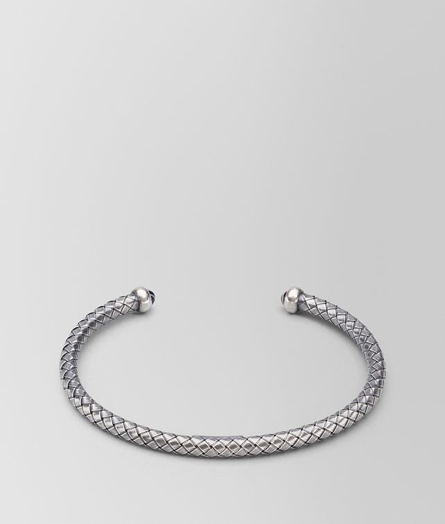 BOTTEGA VENETA BRACELET IN INTRECCIATO STERLING SILVER STRIPED AGATE STONES Bracelet Man fp
