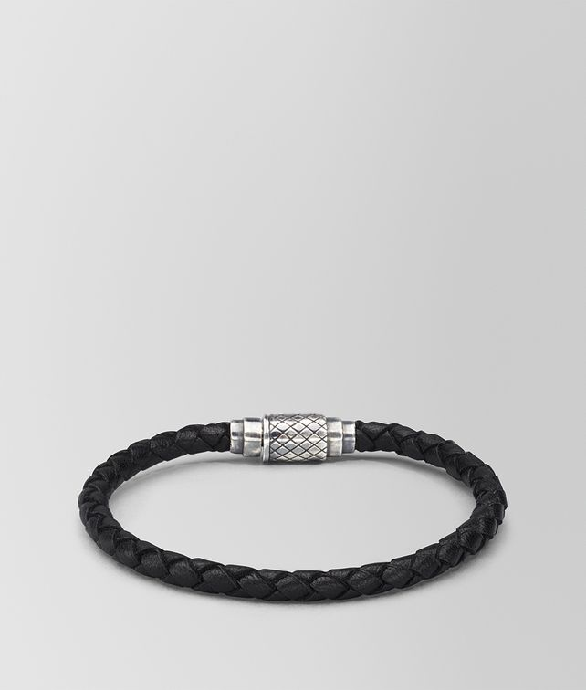 BOTTEGA VENETA BRACELET IN NERO INTRECCIATO NAPPA LEATHER STERLING SILVER, INTRECCIATO DETAILS Bracelet Man fp