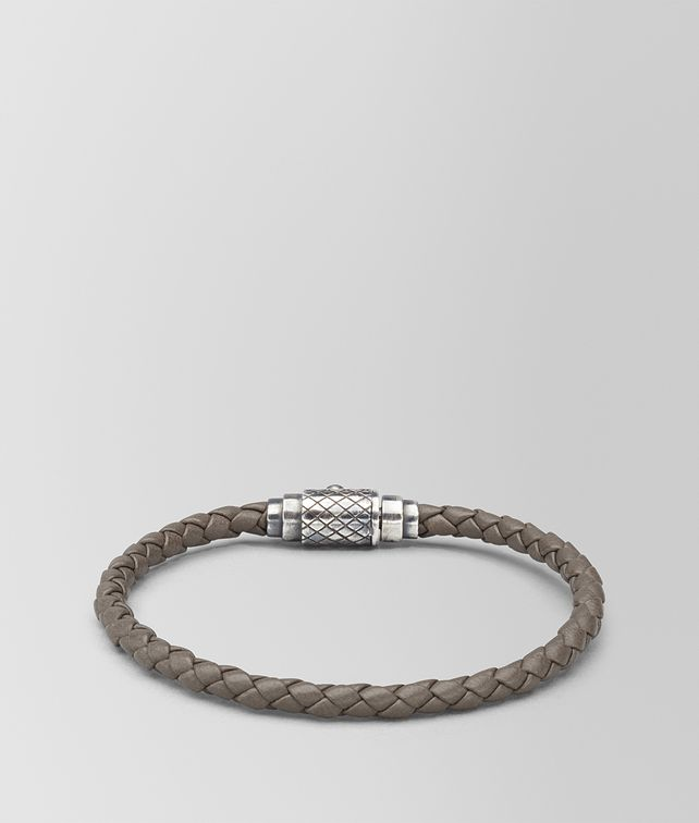 BOTTEGA VENETA BRACELET IN STEEL INTRECCIATO NAPPA LEATHER STERLING SILVER, INTRECCIATO DETAILS Bracelet Man fp