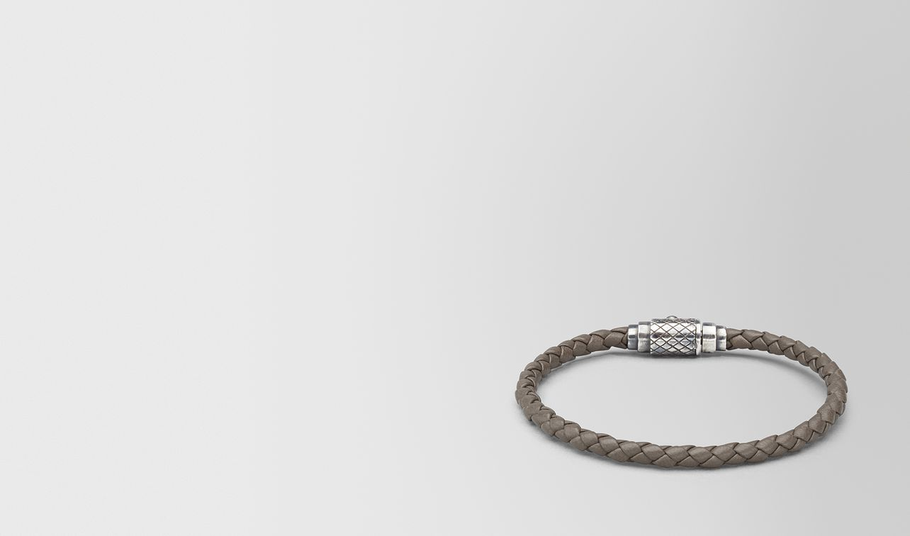 bracelet in steel intrecciato nappa leather sterling silver, intrecciato details landing