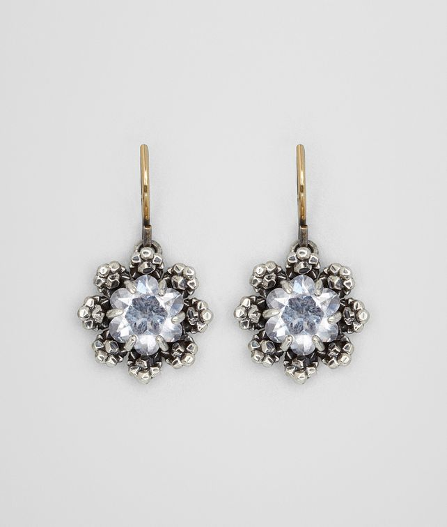 BOTTEGA VENETA EARRINGS IN STERLING SILVER NATURALE ARGENTO CUBIC ZIRCONIA, YELLOW GOLD ACCENTS Earrings Woman fp