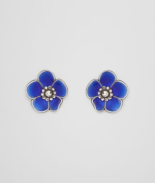 EARRINGS IN STERLING SILVER BRIGHT BLUE ENAMEL