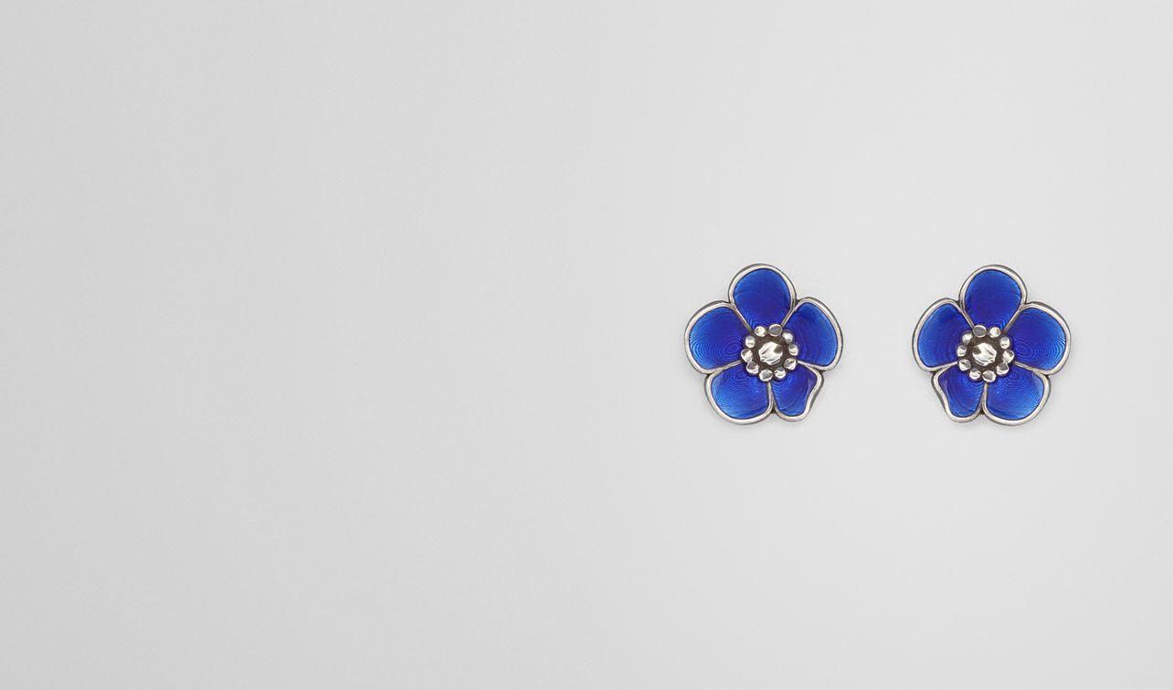 earrings in sterling silver bright blue enamel landing