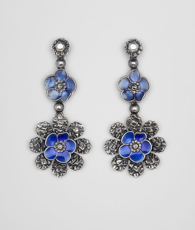 BOTTEGA VENETA EARRINGS IN STERLING SILVER BRIGHT BLUE ENAMEL Earrings D fp