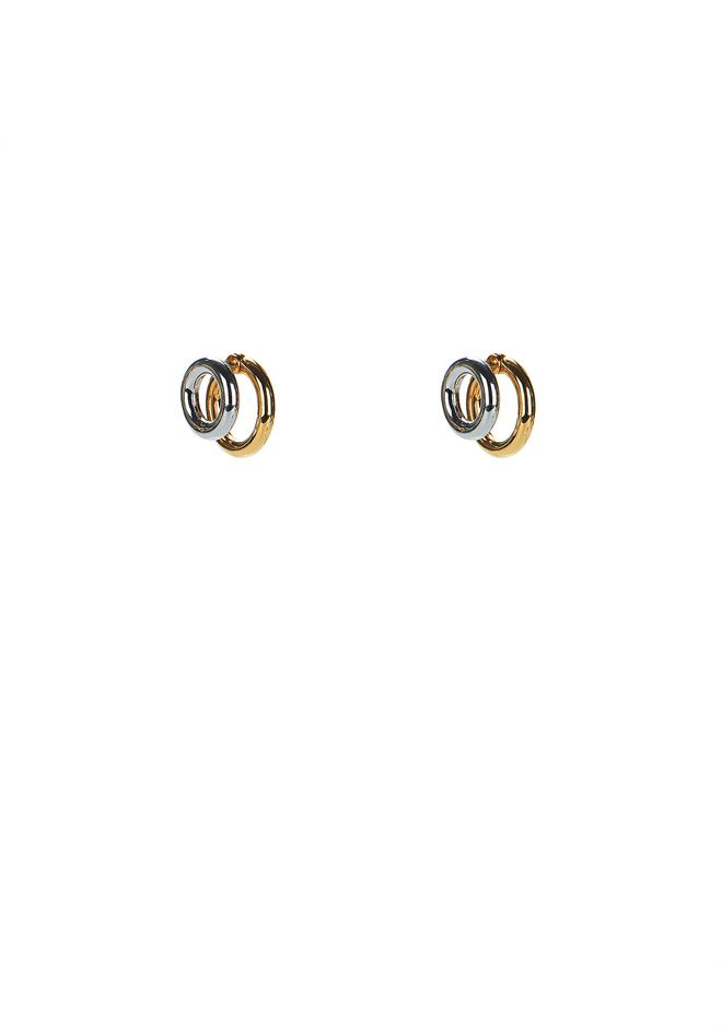 ALEXANDER WANG new-arrivals DOUBLE RING EARRINGS IN RHODIUM AND YELLOW GOLD