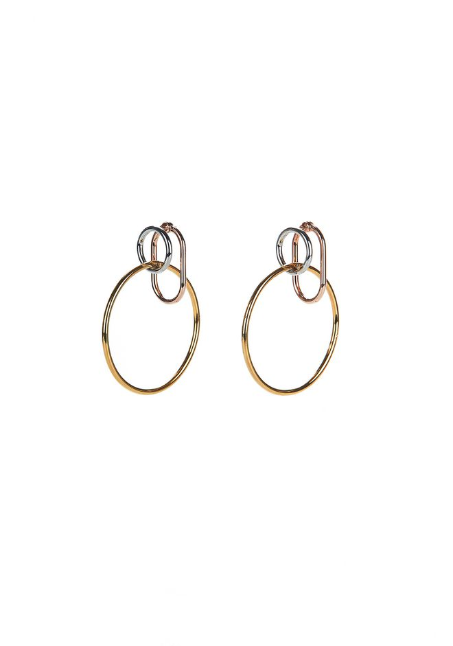 ALEXANDER WANG jewelry MIXED METALS TRIPLE RING EARRINGS