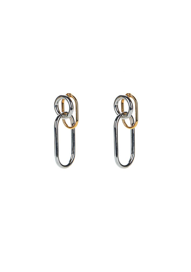 ALEXANDER WANG jewelry RHODIUM AND YELLOW GOLD TRIPLE LINK EARRINGS