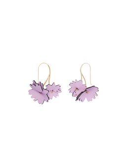Marni Pink leather flower earrings Woman
