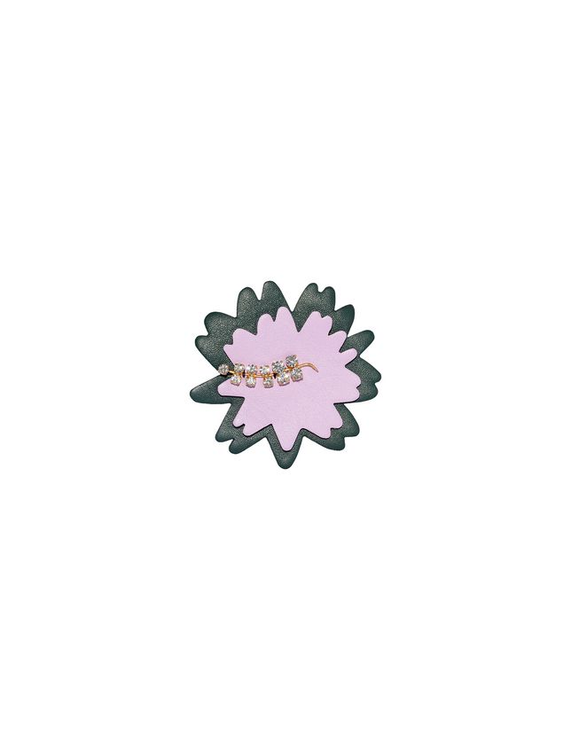 Marni Brooch in leather strass pink Woman - 1