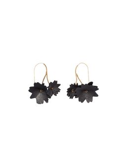 Marni Black leather flower earrings Woman