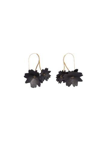 MARNI Earring D Black leather flower earrings f