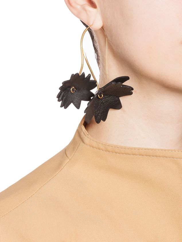 Marni Black leather flower earrings Woman - 2
