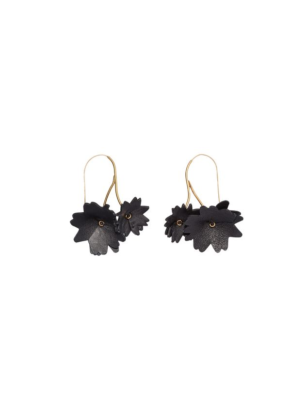 Marni Black leather flower earrings Woman - 1