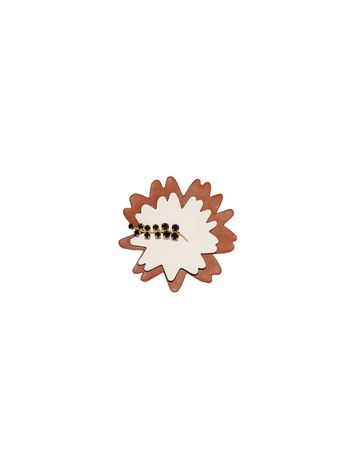 Marni Brooch in leather strass white Woman
