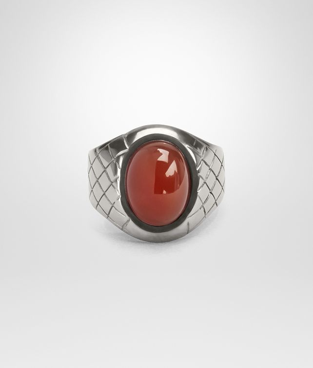 BOTTEGA VENETA RING IN SILVER AND CORNIOLA STONES, INTRECCIATO DETAIL Ring [*** pickupInStoreShippingNotGuaranteed_info ***] fp