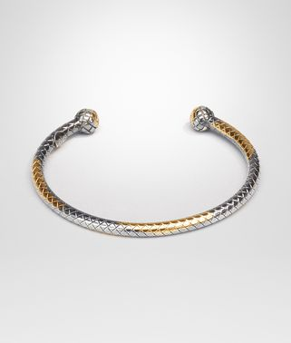 BRACELET IN SILVER AND YELLOW GOLD, INTRECCIATO DETAIL