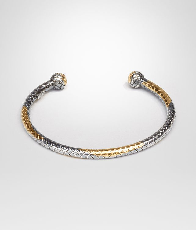 BOTTEGA VENETA BRACELET IN STERLING SILVER AND YELLOW GOLD , INTRECCIATO DETAIL Bracciale D fp