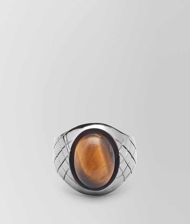 BOTTEGA VENETA RING IN NATURALE Tiger's eye Necklace and Ring Man fp
