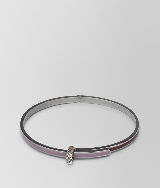 BOTTEGA VENETA BRACELET IN GLICINE SILVER AND BAROLO ENAMEL WITH INTRECCIATO DETAIL Bracelet Woman fp