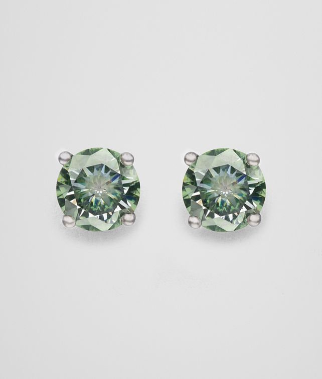 BOTTEGA VENETA EARRINGS IN SILVER AND NATURALE MOSS CUBIC ZIRCONIA Earrings Woman fp