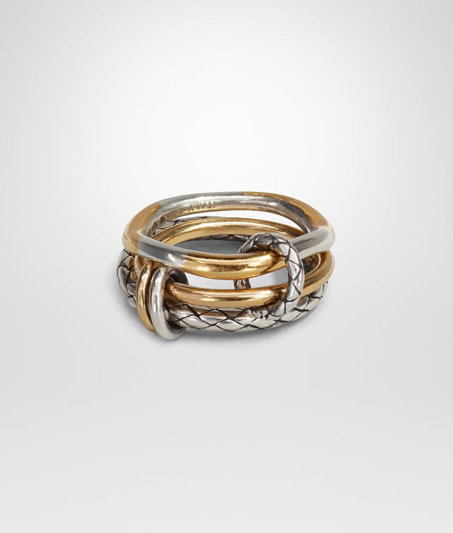 BOTTEGA VENETA RING IN SILVER AND YELLOW GOLD, INTRECCIATO DETAIL Ring Woman fp