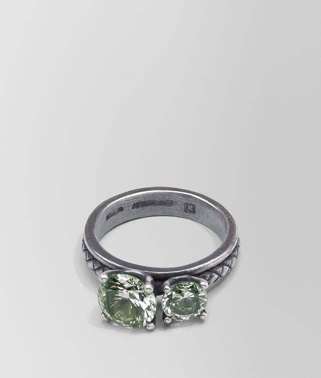 BOTTEGA VENETA RING IN SILVER AND NATURALE MOSS CUBIC ZIRCONIA, INTRECCIATO DETAIL Ring Woman fp