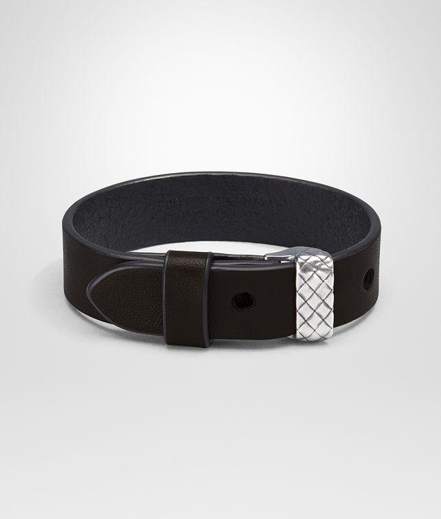 BOTTEGA VENETA BRACELET IN ESPRESSO NAPPA AND SILVER AND CUIR, INTRECCIATO DETAIL Bracelet U fp