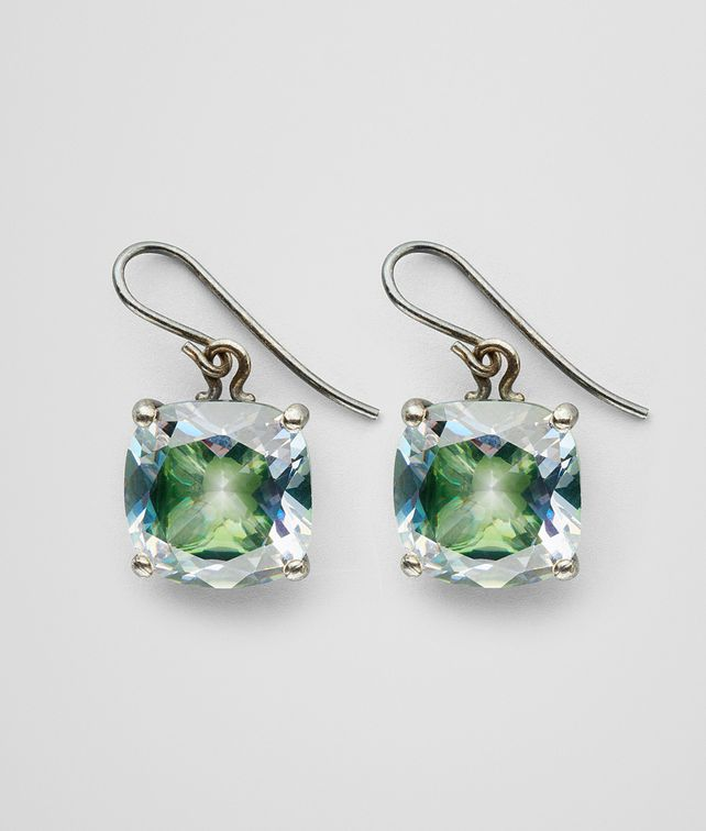BOTTEGA VENETA EARRINGS IN SILVER AND NATURALE MOSS CUBIC ZIRCONIA Earrings D fp