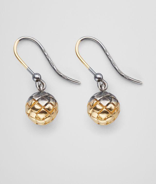 BOTTEGA VENETA EARRINGS IN SILVER AND YELLOW GOLD, INTRECCIATO DETAIL Earrings Woman fp