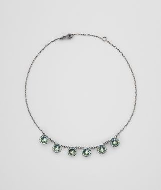 NECKLACE IN SILVER AND NATURALE MOSS CUBIC ZIRCONIA, INTRECCIATO DETAIL