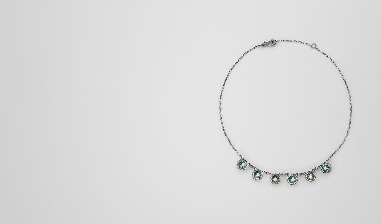 Bottega Veneta Necklace In Silver And Naturale Brown Cubic Zirconia, Intrecciato Detail Brown