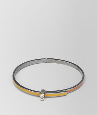 BRACELET IN OCRE SILVER AND LEATHER ENAMEL WITH INTRECCIATO DETAIL