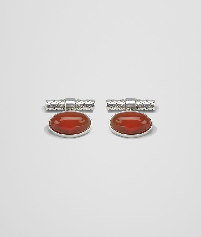 BOTTEGA VENETA CUFFLINKS IN SILVER AND CORNIOLA STONES, INTRECCIATO DETAIL Other Jewellery [*** pickupInStoreShippingNotGuaranteed_info ***] fp