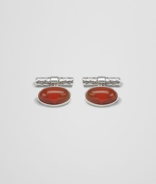 CUFFLINKS IN STERLING SILVER AND CORNIOLA STONES , INTRECCIATO DETAILS