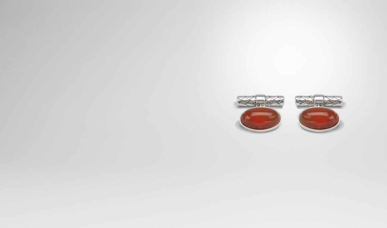 cufflinks in silver and corniola stones, intrecciato detail landing