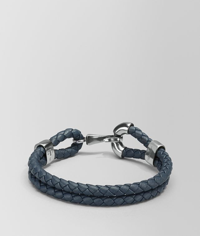 BOTTEGA VENETA BRACELET IN DENIM INTRECCIATO NAPPA AND SILVER Bracelet Man fp