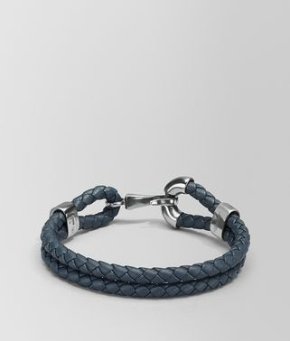 BRACELET IN DENIM INTRECCIATO NAPPA LEATHER AND SILVER