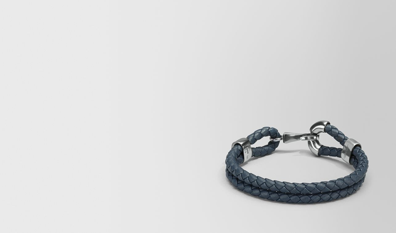 bracelet in denim intrecciato nappa and silver landing
