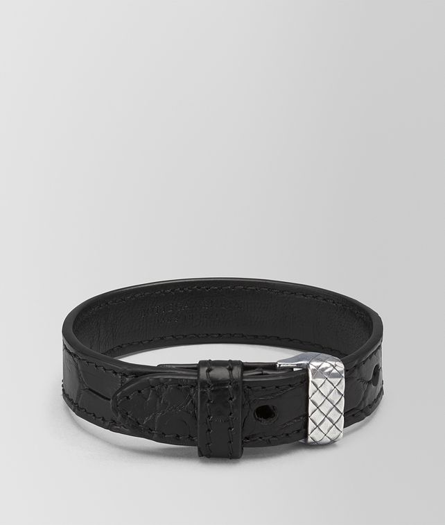 BOTTEGA VENETA BRACELET IN NERO CROCODILE AND SILVER, INTRECCIATO DETAIL Bracelet Man fp