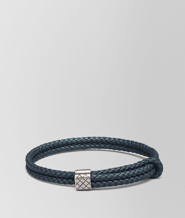 BOTTEGA VENETA BRACELET IN DENIM INTRECCIATO NAPPA AND SILVER Bracelet Man fp