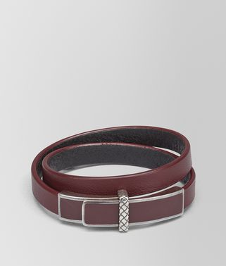 BRACELET IN BAROLO NAPPA AND STERLING SILVER WITH INTRECCIATO DETAIL