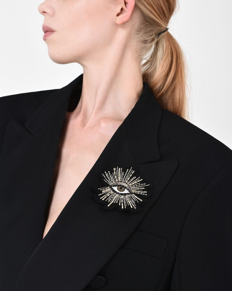 petal finish blazer rosette and chain lapel single duo pin brooch badges silver with
