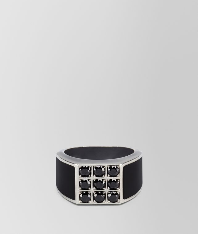 BOTTEGA VENETA NERO ENAMELLED SILVER RING Necklace and Ring U fp