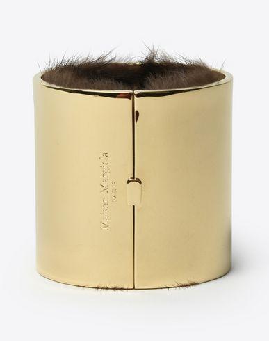 MAISON MARGIELA Fur-lined cuff bracelet Bracelet D f