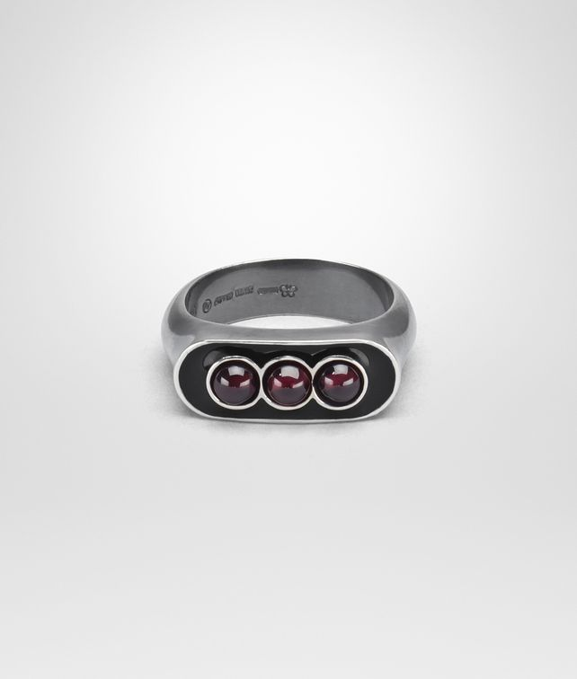 BOTTEGA VENETA NERO ENAMELLED SILVER RING Ring Man fp