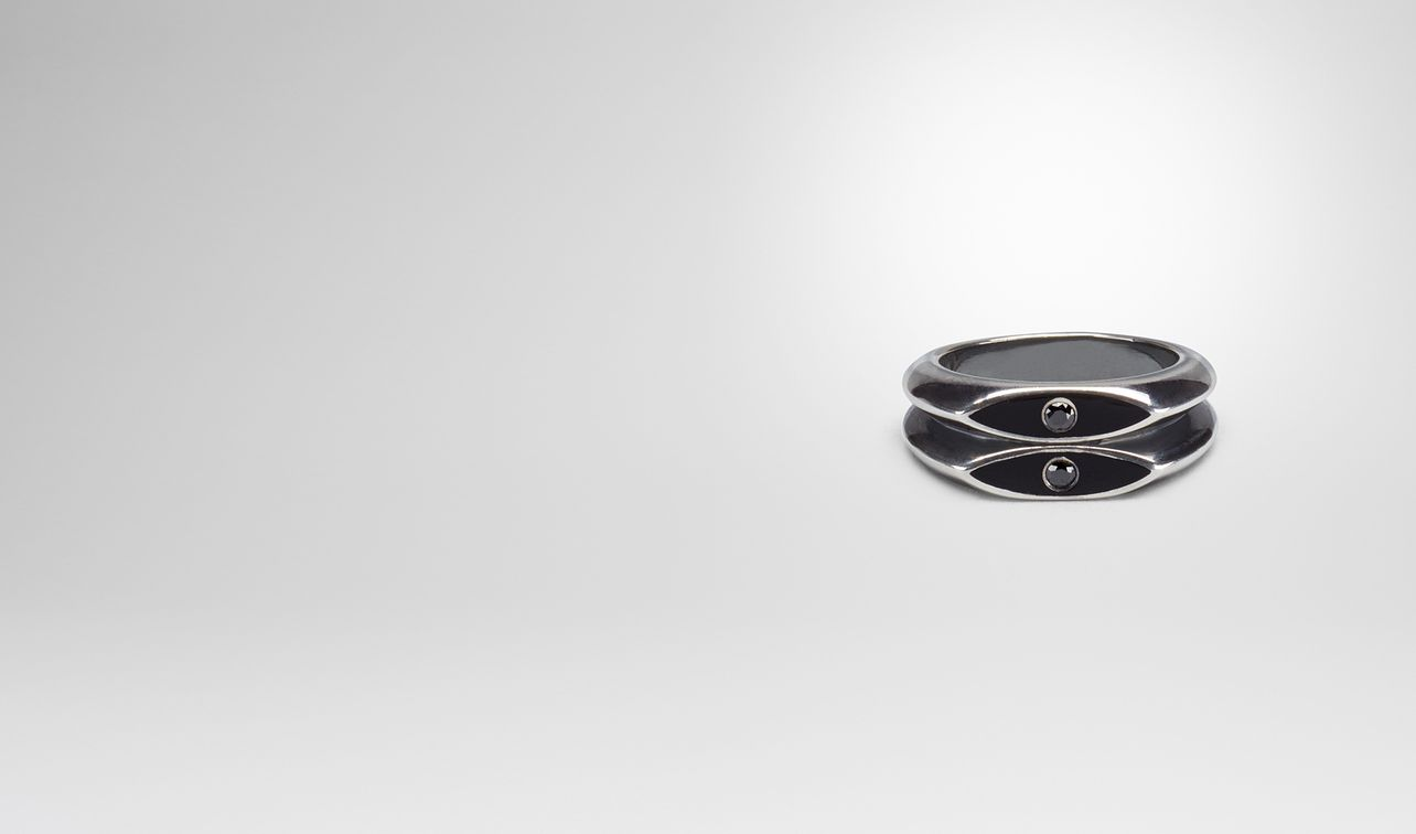 nero enamelled silver ring landing