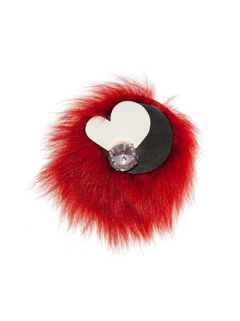 Marni Brooch in leather and fur Woman
