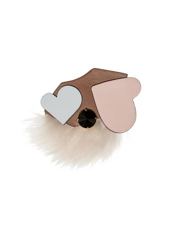Marni Heart-shaped brooch in leather and fur Woman