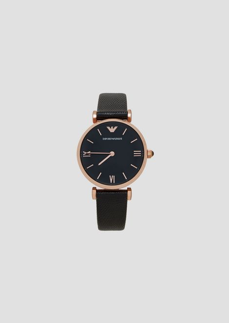 Analogue quartz watch in steel and leather